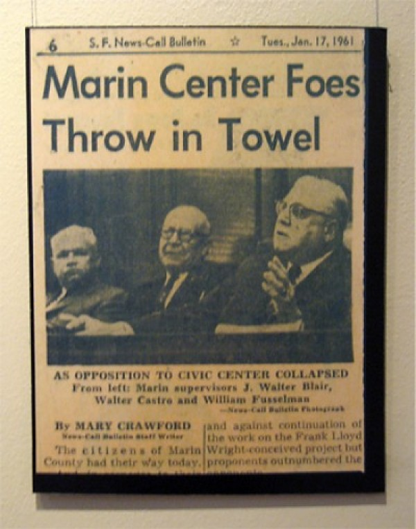 "Newspaper clipping, 1961: ""Marin Center Foes Throw in Towel""."