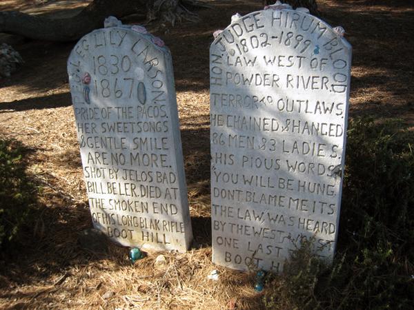 Gravestones on Boot Hill. John Ehn's Trapper's Lodge, Burbank. CA.