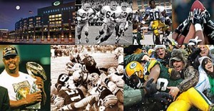 A montage of Green Bay Packers fans and players.
