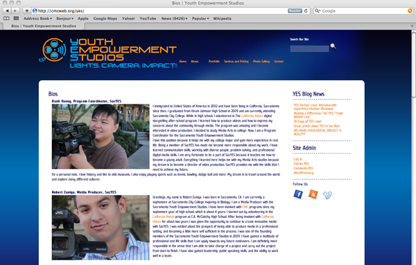 Youth Empowerment Studios web site