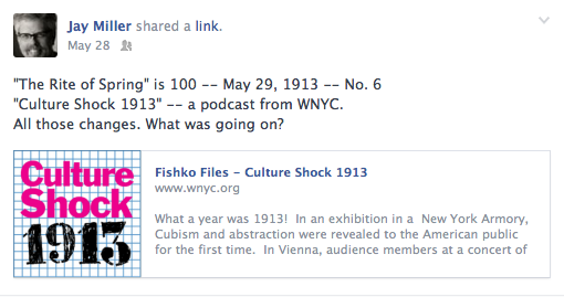 "WNYC radio celebrates with a series ""Culture Shock 1913""."
