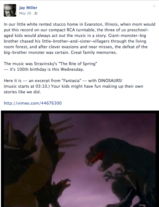 Disney's 1940 Fantasia included Stravinsky's music with dinosaurs.